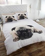 CUTE PUG DOG DOUBLE BED POLYCOTTON DUVET COVER & PILLOWCASE SET XMAS GIFT IDEA