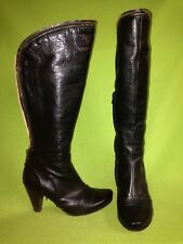 Black Fly London Knee-High Boots with Zipper Trim detail 6 36