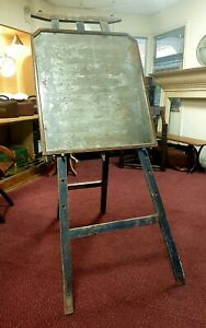Vintage Early Wooden French Artists Easel with a large heavily patinated Mirror