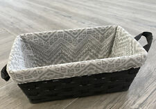 "Gray Fabric Bin with Removable liner Storage Basket 15x8x6"" Storage Bin"