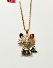 Betsey Johnson Necklace Hello Kitty Gold Black Crystals Enamel Gift Box Bag Lk