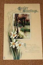 Vintage Postcard: Easter Greetings, Dafodil, River Secen, Tucks, 1915