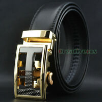 New Men's Dress Luxury Hollow Auto Lock Buckle Genuine Leather Strap Waist Belt