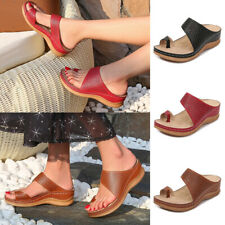 Women Summer Toe Ring Sandals Wedges Slippers Ladies Flip Flops Mules Shoes Size