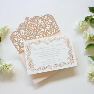 PEACH LASER CUT HANDMADE WEDDING INVITATIONS DIY WITH ENVELOPES FREE SHIPPING