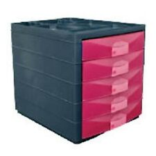 NEW -Pierre Henry 5 Layered Drawers Desktop Organiser With Open View Drawer Pink