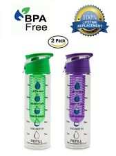 2 PACK The Increment Bottle Flip Cap Infuser Motivational Diet Water Bottle Cup