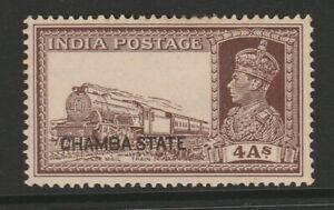 Chamba 1938 4a Brown SG 90 Mint.