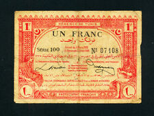 Tunisia:P-49,1 Franc,1920 * REGENCE DE TUNIS * Scarce Type *