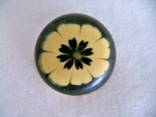 Vintage Art Deco Sewing Button Bakelite or Lucite Green with White Flower