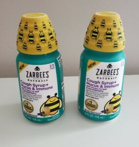 *2* Zarbees cough syrup + mucus & immue 4oz, Natural berry 08/22
