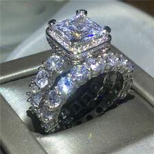 Certified 4.55Ct Princess Cut Diamond Engagement & Wedding Ring 14K White Gold