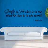 1 John 4:4 Bible Verse Vinyl Wall Stickers Decals Scripture Quote Word Art Decor