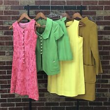 New listing Lot of 4 Vintage 60s Dress Skirt Set Bright Colors Mini Pink Yellow Green