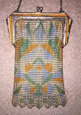 Vintage Whiting & Davis Metal Mesh Enamel Purse Handbag! Orange, Blue & Silver!