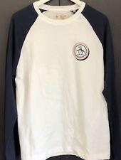 PENGUIN Men's Raglan Long Sleeve Graphic Shirt Sz:M  Clr:White & Navy Blue  New