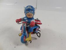 VINTAGE MARX MARVEL SUPERHERO CAPTAIN AMERICA TIN TRICYCLE WINDUP TOY WORKS 1968