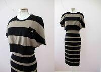 Karen Millen Wool Blend Stripe Knit Caplet Dress 2 Free Postage for 3+items