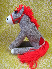 💖 Sock Monkey Little Red Pony Horse - Personalized
