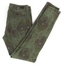 PAIGE VERDUGO Ultra Skinny Green Paisley Stretch  size 28/30