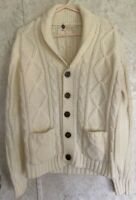 Kings Road Sears Men LARGE L Cable Knit Sweater Cream Cardigan Vintage Sweater
