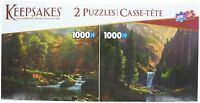 Waterfall, Mountains, Trees, Deer Puzzle 2 Pack -Two 1,000 PC. Jigsaw Puzzles