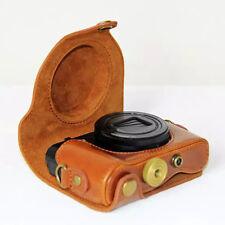 Brown Leather Hard camera Case Bag Grip Strap For NIKON DSC-HX90V HX90 WX500 Len
