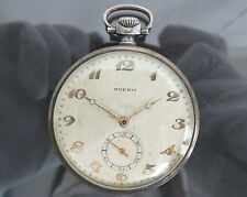100% Authentic MOERIS Hand Winding Pocket Watch Silver 900 Vintage