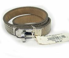 Aaron Brothers Brown Leather & Chrome Scrapbooking Embellishment Bracelet
