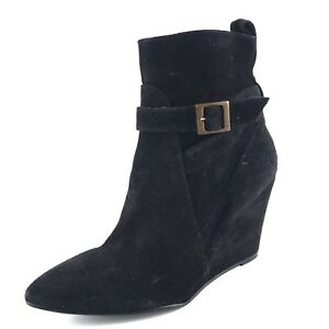 New Charles David Esme Black Suede Wedge Ankle Boots Women's Size 39.5 M*