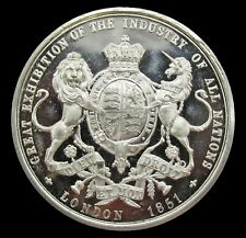 More details for 1851 great exhibition 38mm white metal medal - by taylor