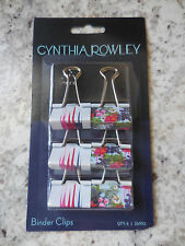 Cynthia Rowley Colorful Floral 1 1/4in Med Binder Clips Pkg of 6  More Avail