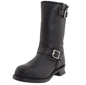 Dingo Men's Rob Boot Motorcycle Pull On, Engineer Style Buckle BLACK Size 11.5 D