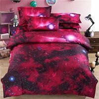 3D Red/Pink Galaxy Queen Duvet Cover Set W/ 2 Pillow Shams - Fast Free Shipping