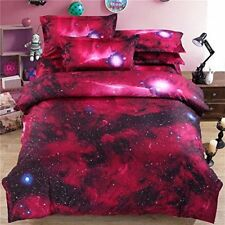 3D Red/Pink Galaxy King Duvet Cover Set W/ 2 Pillow Shams - Fast Free Shipping