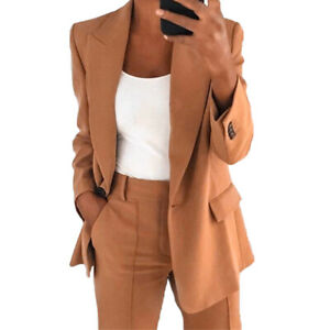 Womens Autumn Solid Slim Simple Casual Long-Sleeved Office Lapel Cardigan Blazer