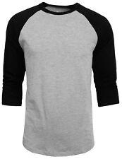 3/4 Sleeve Plain Baseball Raglan T-Shirt Tee Mens Sports Jersey Gray Black M