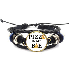 Pizza Is My Bae Glass Cabochon Bracelet Braided Leather Strap Bracelets
