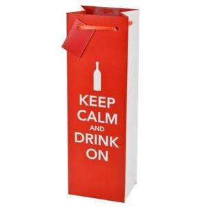 Wine Bags Keep Calm and Drink On Single Bottle 5 Paper Bags Gift New