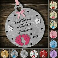 Personalised Babys First 1st Christmas as Grandparents gift tree Bauble decor