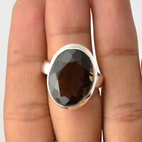 Smoky Quartz Gemstone Ring Size 9 925 Solid Sterling Silver Handmade Jewelry