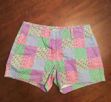 NWT Vineyard Vines Women's Kentucky Derby Pink Green Madras Patchwork Shorts 0