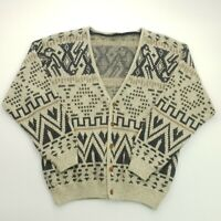 RETRO Mens Vintage Abstract Crazy Cardigan XL Alpaca Wool Acrylic Jumper Sweater