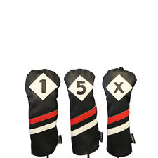 Majek Retro Golf 1 5 X Driver & Woods Headcover Black Red White Leather Style