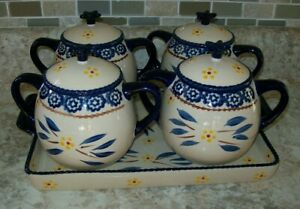 9 Pc Temp-tations byTara Old World Blue 4 Soup Casserole Bowls w/ Lids + Platter