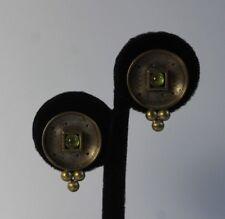 925 Sterling Silver Green Peridot Cabochon Modern Abstract Pierced Post Earrings