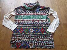 CHAPS women's NWT sz L denim multi color turtleneck layered look cotton blouse