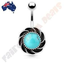 316L Surgical Steel Flower with Turquoise Centre Gem Belly Ring