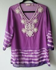 Chicos Womens Size 1 Blouse Tunic Cover Up Beaded Sheer Purple 3/4 Sleeves J16