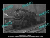 OLD LARGE HISTORIC PHOTO DUNDON WEST VIRGINIA BUFFALO CREEK RAILROAD TRAIN 1960